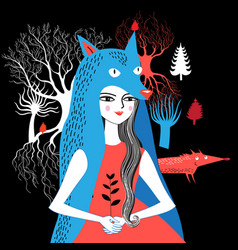 portrait of a wolf girl nature vector image vector image
