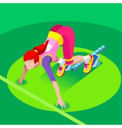 Running starting blocks 2016 summer games 3d vector