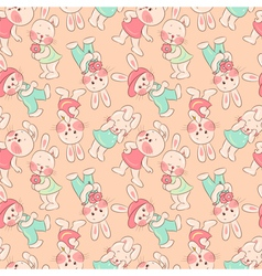 Seamless pattern kittens rabbits vector image