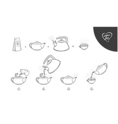 sketch tea brew procedure vector image vector image
