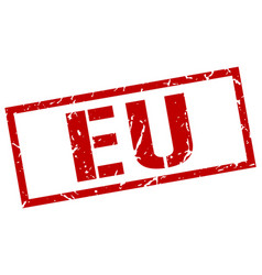 Eu red square stamp vector