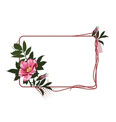 frame with the wild pink roses vector image vector image