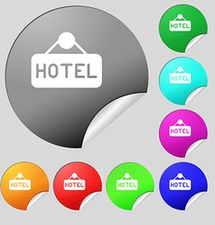 hotel icon sign Set of eight multi colored round vector image vector image