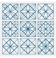 Lineart ornamental geometric symbols templates set vector image