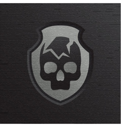 Skull cracked against a dark background with vector image