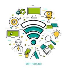 wifi hot spot - line art concept vector image