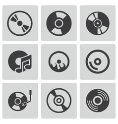 black CD disk icons set vector image