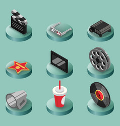 cinema color isometric icons vector image vector image