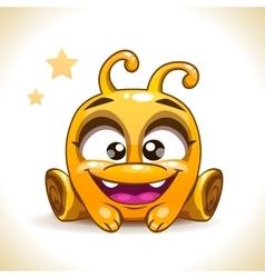 Funny cartoon sitting yellow alien monster vector image