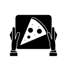 Hand boy delivery box pizza pictogram vector