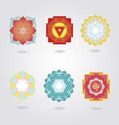 Mini mandalas and Yantra set vector image