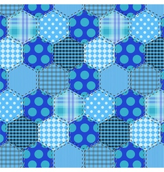 Seamless pattern patchwork blue fabrics hexagon vector image