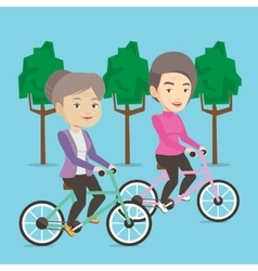 Senior women riding on bicycles in the park vector image vector image