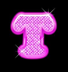 T letter pink bling girly vector