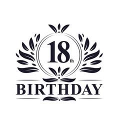 18 years birthday logo 18th birthday celebration vector