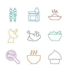 9 dish icons vector