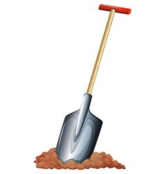 A shovel with a wooden handle vector