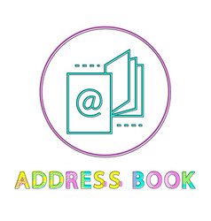 address book round linear icon template for app vector image