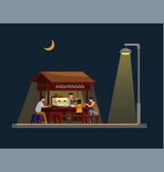 angkringan is traditional street food vector image