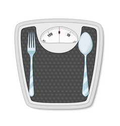 bathroom scales with fork and spoon vector image