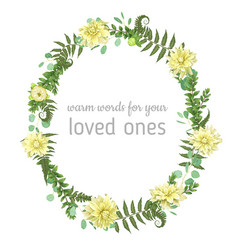 Beautiful leafy frame wreath of eucalyptus fern vector
