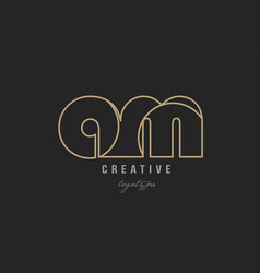 Black and yellow gold alphabet letter am a m logo vector