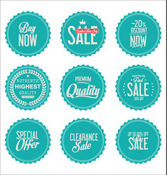 blue paper sale stickers collection vector image