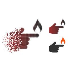 Broken pixel halftone index finger fire icon vector