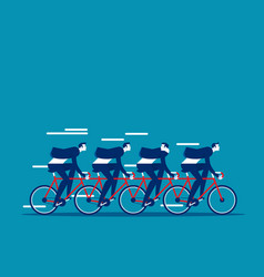 business team group riding on tandem bike vector image