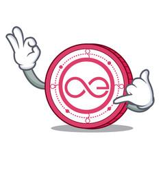Call me aeternity coin mascot cartoon vector