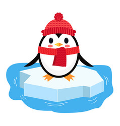 Cartoon penguin on ice chunk vector