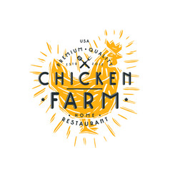 Chicken farm label vector