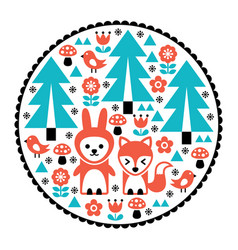 Children pattern scandinavian cute folk design vector