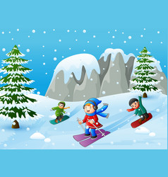 Children playing winter sports in the hill vector