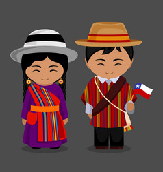 Chileans in national dress with a flag vector