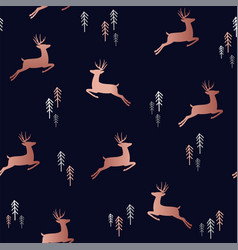 Christmas deer seamless pattern in copper color vector