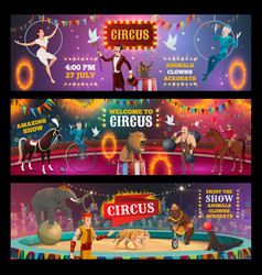 Circus show clown animals magician and acrobats vector