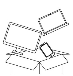 cloud computing and devices in black and white vector image