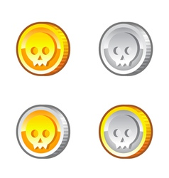Coins with skull vector