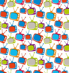 Colorful retro style TV sets seamless background vector