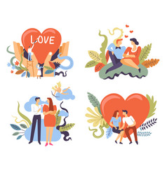 couples on romantic dates love and relationships vector image