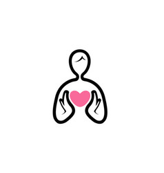 creative body and heart holding logo vector image