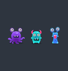 cute funny monsters cartoon glossy aliens game vector image