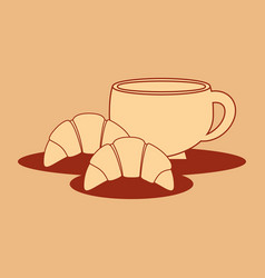 delicious croissant bread with coffee cup vector image