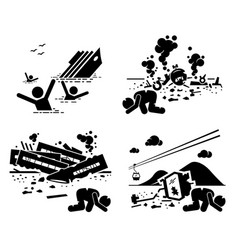 Disaster accident tragedy sinking ship vector