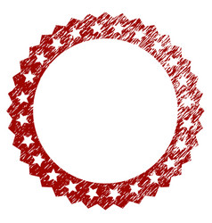 distress textured starred rosette round frame vector image