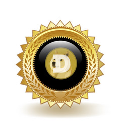 dogecoin cryptocurrency coin gold badge vector image