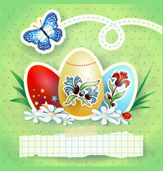 easter background with eggs and butterfly in green vector image