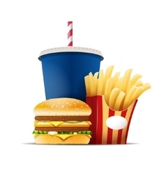 Fast food still life with a hamburger fries and vector