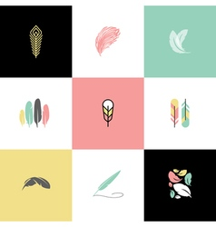 Feather Set logos and icons vector image vector image